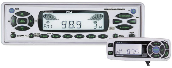 Pyle - PLCD20XMRW , Marine and Waterproof , Headunits - Stereo Receivers , AM/FM-MPX In-Dash Marine CD Player/Weather Band Radio w/XM Ready Tuner & Wired Remote
