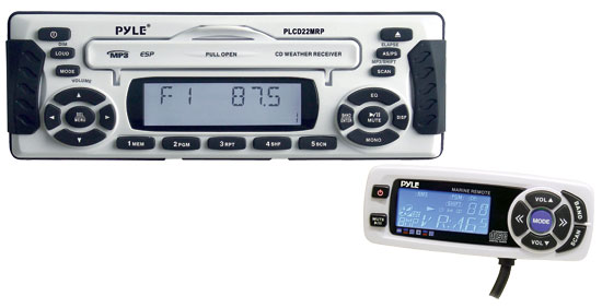 Pyle - PLCD22MRP , On the Road , Headunits - Stereo Receivers , 1.5 DIN Waterproof Marine MP3 Player Receiver w/Weather Band & Wired Remote