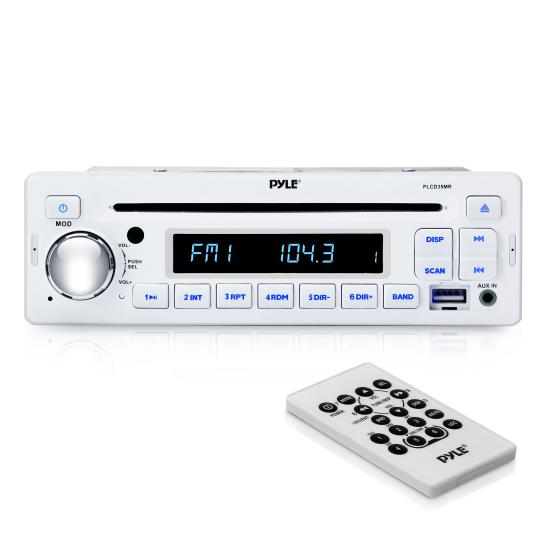 Pyle - PLCD35MR , Marine and Waterproof , Headunits - Stereo Receivers , AM/FM-MPX IN-Dash Marine MP3 Player/USB Function