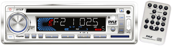 Pyle - PLCD36MRW , On the Road , Headunits - Receivers , AM/FM-MPX IN-Dash Marine CD/MP3 Player/Weatherband/USB & SD Card Function