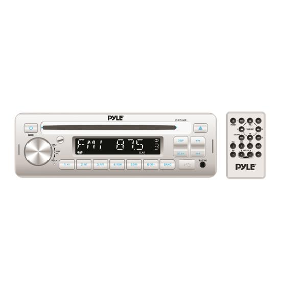 Pyle - PLCD3MR , Marine and Waterproof , Headunits - Stereo Receivers , Stereo Radio Headunit Receiver, CD Player, USB/MP3 Reader, Aux (3.5mm) Input, AM/FM Radio, Single DIN (White)