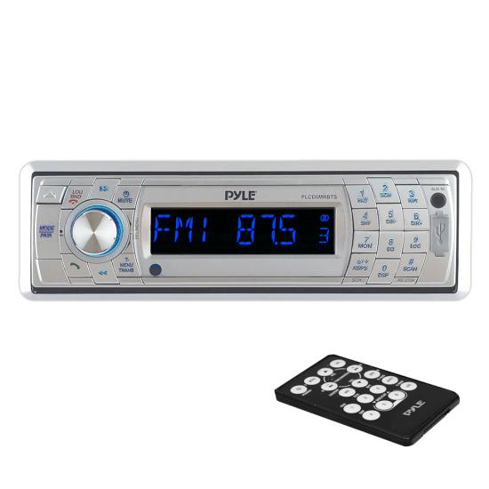 Pyle - PLCD5MRBTS , Marine and Waterproof , Headunits - Stereo Receivers , Bluetooth Stereo Radio Headunit Receiver, Wireless Streaming & Call Answering, Aux (3.5mm) MP3 Input, CD Player, USB Flash & SD Card Readers, Remote Control, Detachable Face, Single DIN (Silver)