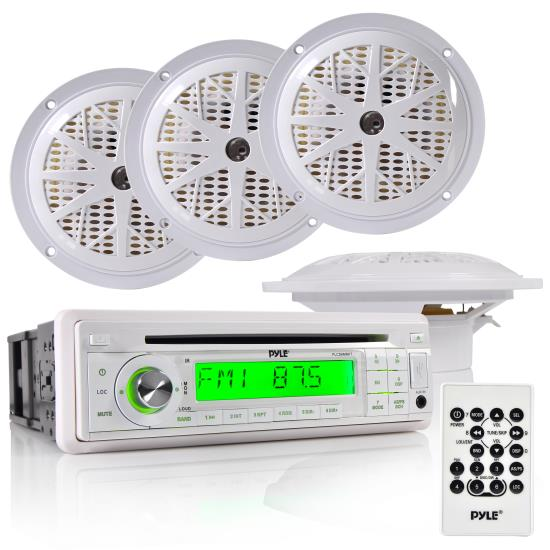 Pyle - PLCD6MRKT , Marine Audio & Video , CD / MP3 Receivers , Waterproof Marine AM/FM/CD Player Receiver W/ 4 X 5.25'' Speakers & Splash Proof Radio Cover (White)