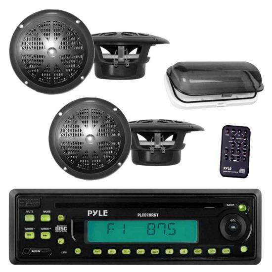 Pyle - PLCD7MRKT , Marine and Waterproof , Headunits - Stereo Receivers , Marine Stereo Radio Headunit Receiver & Speaker Kit, MP3/USB/SD Readers, CD Player, AM/FM Radio, Single DIN, (4) Waterproof 5.25'' Speakers, Splash Proof Cover (Black)