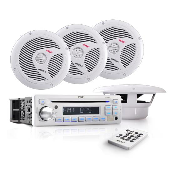 Pyle - PLCD8MRKT , Marine Audio & Video , CD / MP3 Receivers , Complete Marine Water Proof 4 Speaker CD/USB/Mp3/Combo w/ Stereo Cover (White)