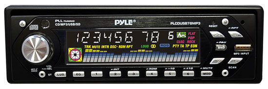Pyle - PLCDUSB78MP3 , On the Road , Headunits - Stereo Receivers , AM/FM-MPX MP3 Player w/USB/SD Input & Motorized Slide Down Detachable Face