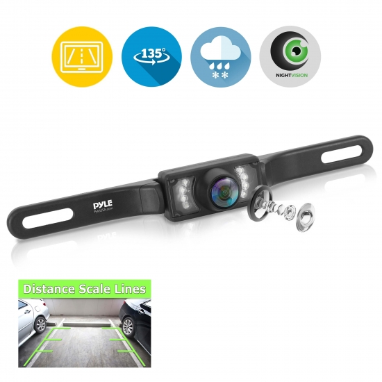 Pyle - PLCM10 , On the Road , Rearview Backup Cameras - Dash Cams , Rear View Backup Parking/Reverse Camera, License Plate Mount, Weatherproof, Night Vision, Distance Scale Line Display, Swivel Angle Adjustable Cam