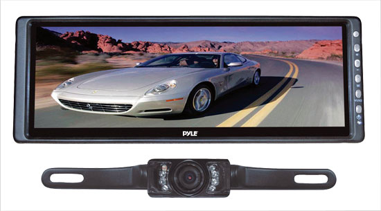 Pyle - PLCM103 , On the Road , Rearview Backup Cameras - Dash Cams , 10.2'' Rearview Mirror Monitor  w/ License Plate Mount Rear View Night Vision Camera