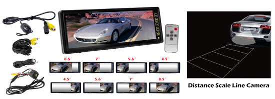 Pyle - PLCM105 , On the Road , Backup Rearview Parking Cameras , 10.2'' TFT LCD Rear View Mirror Monitor  W/ Back Up Camera  Night Vision & Water Proof W/ Built-In Distance Scale Line