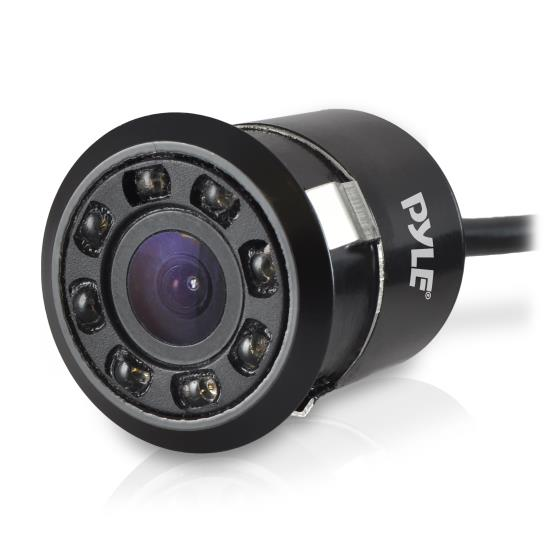 Pyle - UPLCM12 , On the Road , Rearview Backup Cameras - Dash Cams , Mini Rearview Backup Parking Assist Camera, Waterproof, Night Vision LEDs, Distance Scale Line Display, Flush Mount