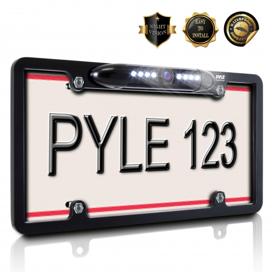 Pyle - PLCM16BP , On the Road , Rearview Backup Cameras - Dash Cams , License Plate Frame Rear View Backup Camera, Reverse/Parking Assist, Night Vision Waterproof Cam, Distance Scale Lines