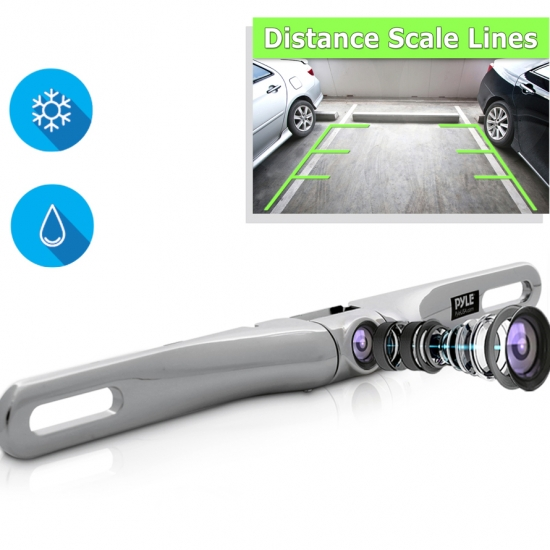Pyle - PLCM18SC , On the Road , Rearview Backup Cameras - Dash Cams , License Plate Mount Rear View Backup Parking/Reverse Assist Camera, Built-in Distance Scale Lines, Waterproof, Swivel Angle Adjustable Cam, Zinc Metal Chrome