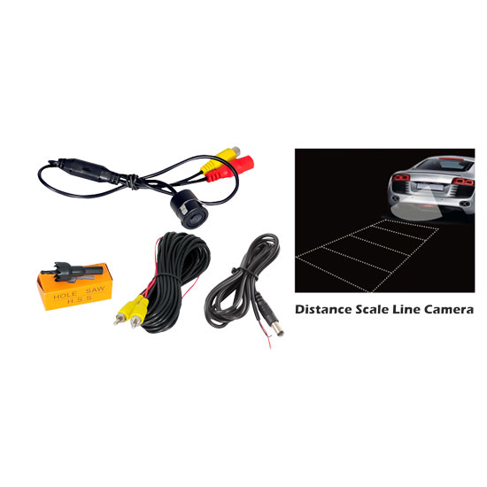 Pyle - PLCM23IR , Mobile Video / Navigations , Back up Camera & Rear View Mirrors w/ Monitors , Flush Mount Rearview Night Vision Camera w/ Distance Scale Line