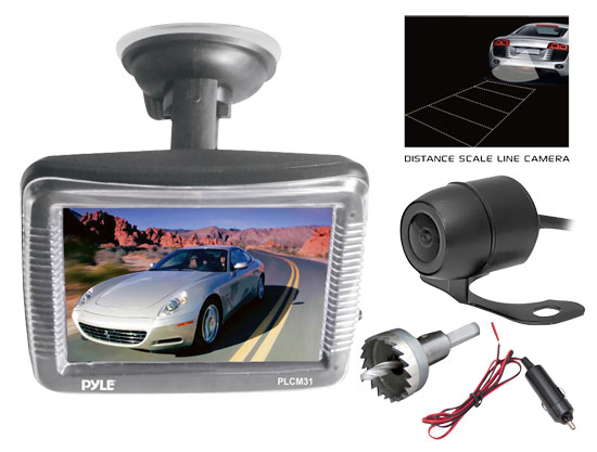 Pyle - PLCM31 , On the Road , Backup Rearview Parking Cameras , Rearview Backup Camera & Monitor System, 3.5'' Display, Weatherproof, Low Light Performance, Universal Mount Cam (Hanging/Flush Mounting)