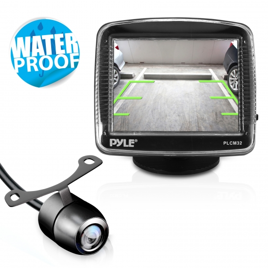 Pyle - PLCM32 , Mobile Video / Navigations , Back up Camera & Rear View Mirrors w/ Monitors , 3.5'' TFT LCD Monitor w/ Universal Mount Rear View and Backup Color CMD Distance Scale Line Camera
