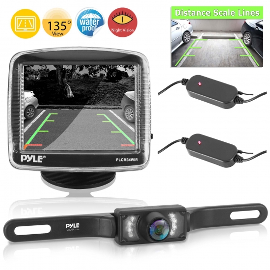 Pyle - PLCM34WIR , On the Road , Rearview Backup Cameras - Dash Cams , Wireless Rear View Backup Camera and Monitor Parking/Reverse Assist System, 3.5'' Display Screen, Distance Scale Lines, Night Vision Waterproof Cam, Swivel Angle Adjustable