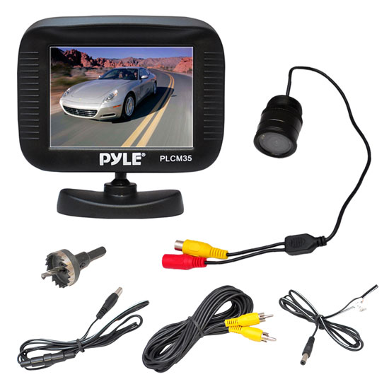 Pyle - PLCM35R , Mobile Video / Navigations , Back up Camera & Rear View Mirrors w/ Monitors , 3.5'' TFT LCD Digital Monitor/Night Vision Rear-View Camera