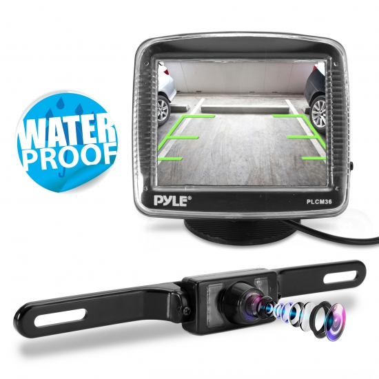 Pyle - PLCM36 , On the Road , Rearview Backup Cameras - Dash Cams , Rearview Backup Camera & Video Monitor Parking/Reverse Assist System, Night Vision License Plate Mount Cam, 3.5'' Display, Weatherproof Swivel Adjustable Angle Cam