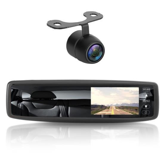 Pyle - PLCM4300WIR , On the Road , Rearview Backup Cameras - Dash Cams , Wireless Rear View Mirror Back-Up Camera and Monitor Parking Assist System, 4.3'' Display, Distance Scale Lines, Night Vision, Waterproof Cam