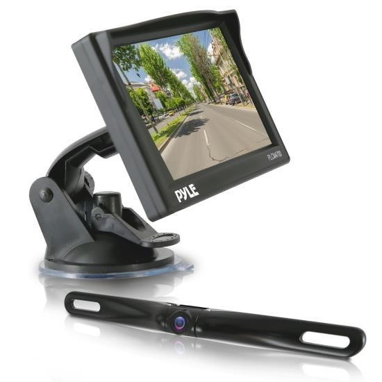 Pyle - PLCM4700 , On the Road , Rearview Backup Cameras - Dash Cams , Rear View Backup Camera & Monitor Parking / Reverse Assist System, Includes Waterproof Night Vision Cam, Angle Adjustable, Distance Scale Lines, 4.7'' LCD Display