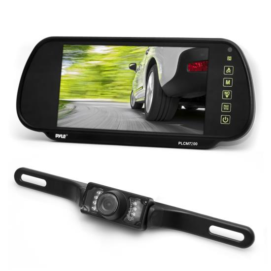Pyle - PLCM7200 , Mobile Video / Navigations , Back up Camera & Rear View Mirrors w/ Monitors , 7'' TFT Mirror Monitor w/ License Plate Mount Rear View Night Vision Camera