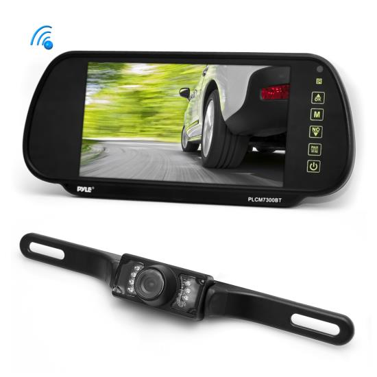 Pyle - PLCM7300BT , On the Road , Rearview Backup Cameras - Dash Cams , Bluetooth Mirror Mount Visual Driving Parking Assist System with Backup Reverse Camera and 7'' Display Monitor, Hands-Free Talking, Distance Scale Lines, Night Vision Waterproof Cam, Swivel Angle Adjustable
