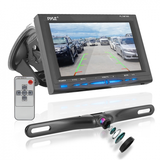 Pyle - PLCM7500 , On the Road , Rearview Backup Cameras - Dash Cams , Backup Rearview Camera & Monitor Parking/Reverse Assist System, Waterproof, Night Vision, 7'' Display, Distance Scale Lines, Swivel Angle Adjustable Cam