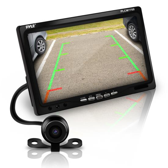 Pyle - PLCM7700 , On the Road , Backup Rearview Parking Cameras , Rear View Backup Camera and Monitor System with 7'' LCD Display Screen, Waterproof Night Vision Camera, Distance Scale Lines, Parking/Reverse Assist