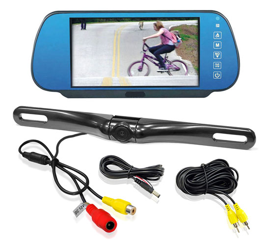 Pyle - PLCM7800 , Mobile Video / Navigations , Back up Camera & Rear View Mirrors w/ Monitors , 7'' TFT/LCD Mirror Monitor with License Plate Mount Rearview Backup Color Camera