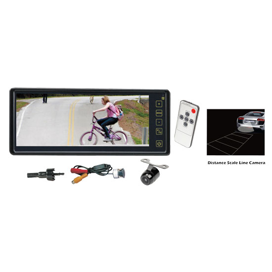 Pyle - PLCM8200 , On the Road , Backup Rearview Parking Cameras , Rearview Backup Camera & Mirror Monitor System, Waterproof Night Vision Cam, 8.1'' Display, Distance Scale Lines, Universal Mount (Front/Rear Vehicle)