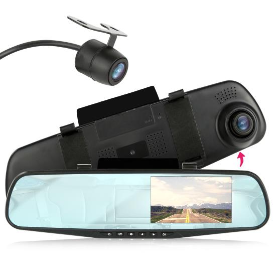 Pyle - UPLCMDVR47 , On the Road , Rearview Backup Cameras - Dash Cams , DVR Dash Cam & Backup Camera Kit, Car Video Recording System with Dual Cameras, Full HD 1080p, 4.3'' Display, Waterproof Rearview Backup Cam