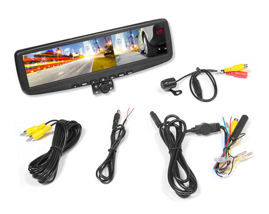 "Pyle - PLCMDVR5 , On the Road , Backup Rearview Parking Cameras , HD Rearview Mirror DVR Image and Video Recording Camera Parking Assist System with (2) Night Vision Cameras, Dual Camera Recording, 4.3"" LCD Display, Distance Scale Lines, Motion Impact Recording & SD Memory Card Slot"