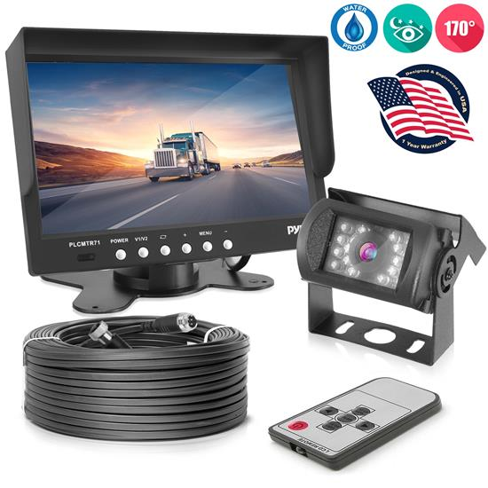 Pyle - PLCMTR71 , Mobile Video / Navigations , Back up Camera & Rear View Mirrors w/ Monitors , Weatherproof Rearview Backup Camera System Kit with 7'' LCD Color Monitor, IR Night Vision Camera,  Dual DC Voltage 12-24 for Bus, Truck, Trailer, Van