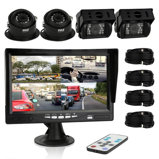 Pyle - PLCMTRS77 , On the Road , Rearview Backup Cameras - Dash Cams , Rearview Backup Camera & Video Monitor System Kit, Quad View Split Screen Cam Display, (4) Commercial Grade Night Vision Waterproof Cameras, 7'' Screen, Dual DC 12/24V (for Bus, Truck, Trailer, Van)