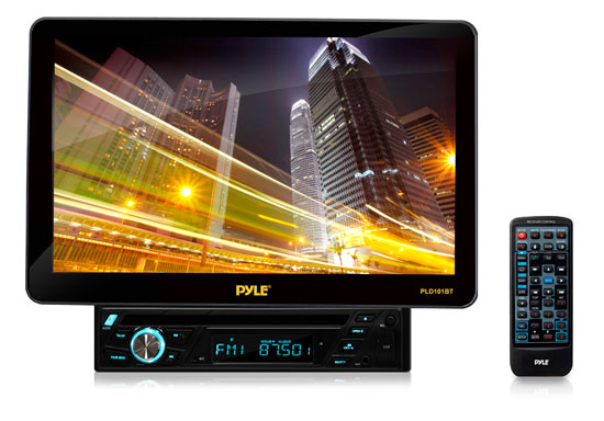 Pyle - PLD101BT , On the Road , Headunits - Stereo Receivers , 10.1'' Motorized TFT/LCD Touch Screen Detachable Display Multimedia Disc/VMP3-R/USB/AM/FM/RDS Receiver w/ Bluetooth System and AUX A/V Input For iPod/Smart Phones/MP3 Players