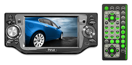 Pyle - PLD45MU , Mobile Video / Navigations , In-Dash DVD With Monitors , 4.5'' TFT Touch Screen Monitor w/Multimedia Disc/VCD/USB/SD/MP3/CD Player & AM/FM/RDS Radio
