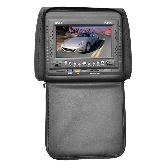 Pyle - PLD72BK , Mobile Video / Navigations , Headrest Monitors , Adjustable Headrest w/ Built-In 7'' TFT/LCD Monitor w/ Built in Multimedia Disc Player & IR/FM Transmitter With Cover (Black)
