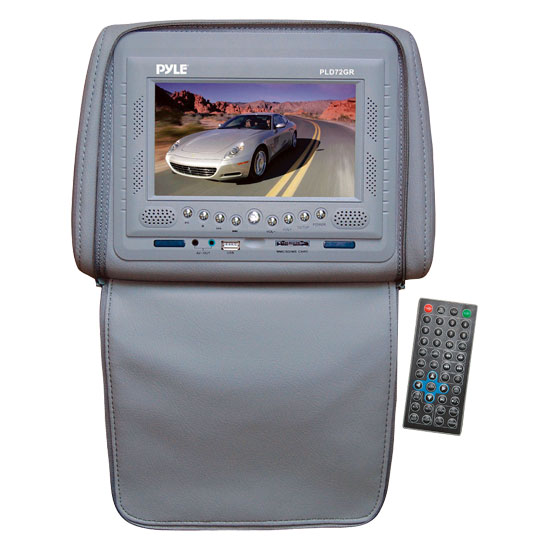 Pyle - PLD72GR , On the Road , Headrest Video , Adjustable Headrest w/ Built-In 7'' TFT/LCD Monitor w/ Built in Multimedia Disc Player & IR/FM Transmitter With Cover (Gray)