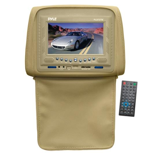 Pyle - PLD72TN , On the Road , Headrest Video , Adjustable Headrest w/ Built-In 7'' TFT/LCD Monitor w/ Built in Multimedia Disc Player & IR/FM Transmitter With Cover (Tan)