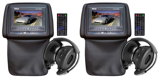 Pyle - PLD76BK , On the Road , Headrest Video , Pair of Adjustable Headrests w/ Built-In 7'' TFT/LCD Monitor w/ Built in Multimedia Disc Player & IR/FM Transmitter With Cover (Black Color)