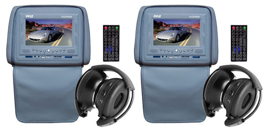 Pyle - PLD76GR , On the Road , Headrest Video , Pair of Adjustable Headrests w/ Built-In 7'' TFT/LCD Monitor w/ Built in Multimedia Disc Player & IR/FM Transmitter With Cover (Gray Color)
