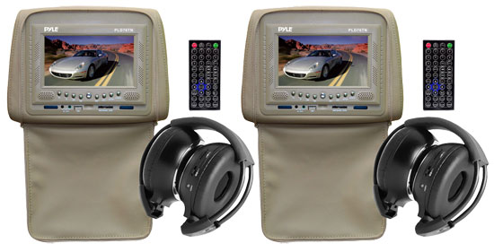 Pyle - PLD76TN , On the Road , Headrest Video , Pair of Adjustable Headrests w/ Built-In 7'' TFT/LCD Monitor w/ Built in Multimedia Disc Player & IR/FM Transmitter With Cover (Tan Color)