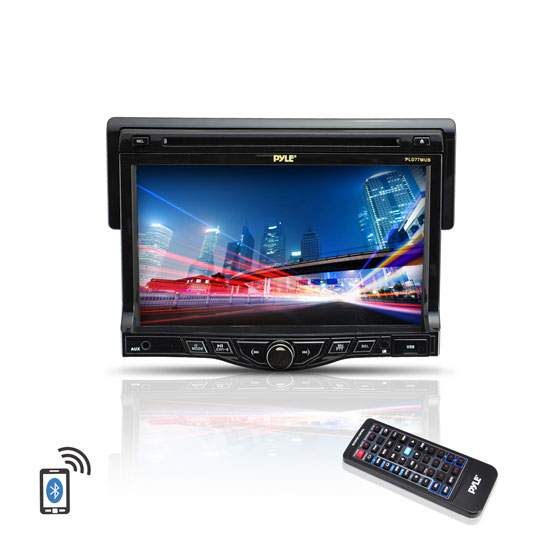 Pyle - PLD77MUB , On the Road , Headunits - Stereo Receivers , 7'' Touch Screen TFT/LCD Monitor w/Digital Video Player/MP3/USB/SD Slot/AM/FM/RDS Player W/Bluetooth System and Built-In Aux A/V Input For iPod/Smart Phones/MP3 Players