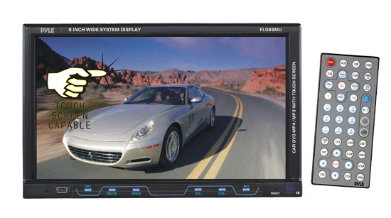 Pyle - PLD89MU , On the Road , Headunits - Stereo Receivers , 8'' Single DIN TFT Touch Screen Multimedia Disc/VMP3/MP4-R/USB/SD/AM/FM/RDS Receiver