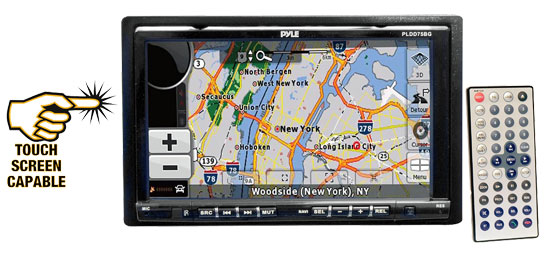 Pyle - PLDD75BG , On the Road , Headunits - Receivers , 7'' Double DIN In-Dash Motorized Touch Screen TFT/LCD Monitor W/Multimedia Disc/CD/MP4/USB/SD/AM/FM/RDS/Bluetooth & Screen Dial Pad Built-In GPS/TTS w/USA/Canada & Mexico Maps