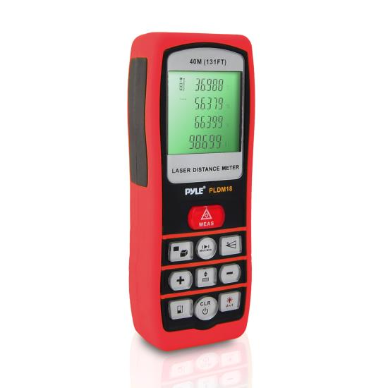 Pyle - PLDM18 , Tools and Meters , Distance - Rotation , Handheld Laser Distance Meter W/ Backlit LCD Display, Direct / Indirect, Volume, Area Measuring