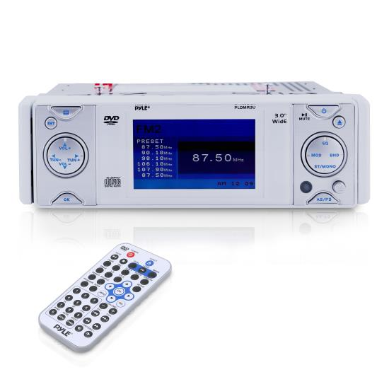 Pyle - PLDMR3U , Marine Audio & Video , CD / MP3 Receivers , In-Dash Marine CD/Multimedia Disc Receiver with 3'' Built In Monitor