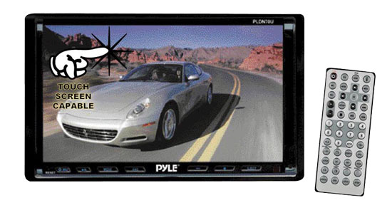 Pyle - PLDN70U , On the Road , Headunits - Receivers , 7'' Double Din TFT Touch Screen AM/FM Multimedia Disc/VMP3/MP4-R/USB/SD-MMC Card slot