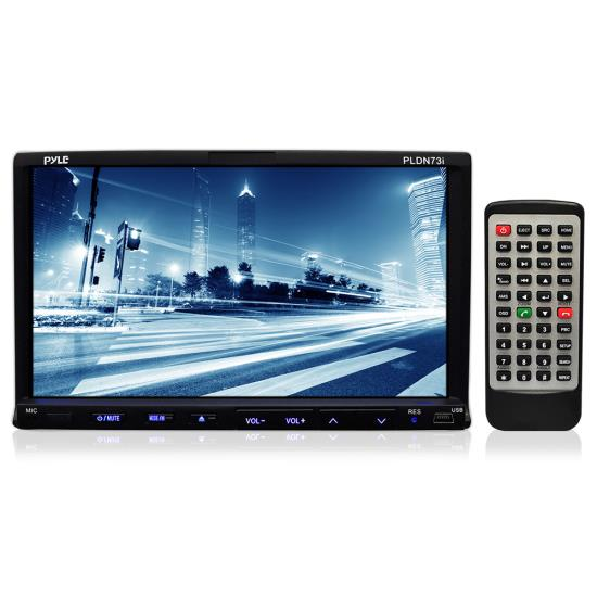 Pyle - PLDN73I , On the Road , Headunits - Receivers , 7'' Double DIN TFT Touch Screen Multimedia Disc/VCD/CD/MP3/MP4/CD-R/USB/SD-MMC Card Slot/AM/FM/iPod Connector