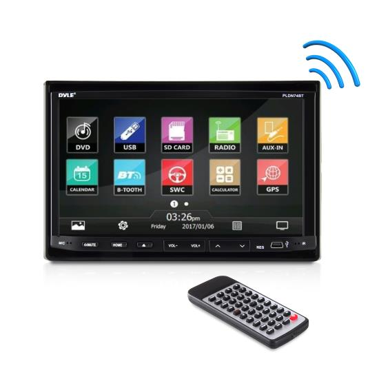 Pyle - PLDN74BT , On the Road , Headunits - Stereo Receivers , 7'' Double DIN TFT Motorized Slide-Down Panel Touch Screen Multimedia Disc/MP3/MP4-R/USB/SD-MMC Card Slot/AM/FM/Bluetooth